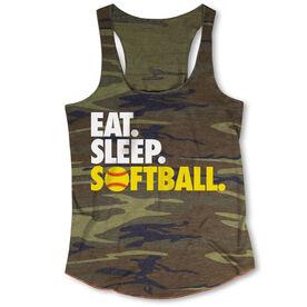 Softball Camouflage Racerback Tank Top - Eat. Sleep. Softball.