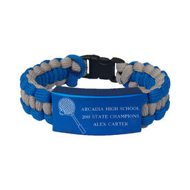 Tennis Paracord Engraved Bracelet - 3 Lines/Blue