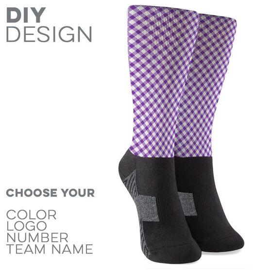 Printed Mid-Calf Socks - Gingham Team