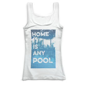 Swimming Vintage Fitted Tank Top - Home Is Any Pool