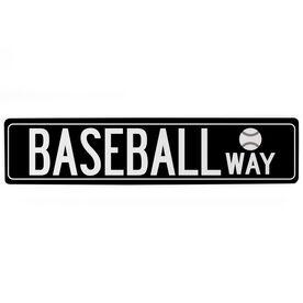 "Baseball Aluminum Room Sign Baseball Way (4""x18"")"