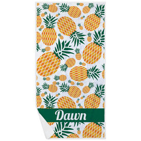 Personalized Premium Beach Towel - Pineapple Crazy