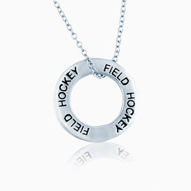 Field Hockey Message Ring Necklace