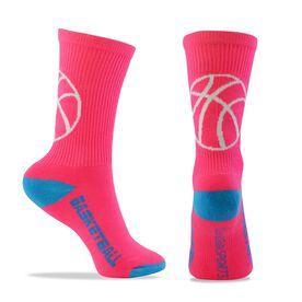 Basketball Woven Mid-Calf Socks - Ball Silhouette (Pink/Blue)