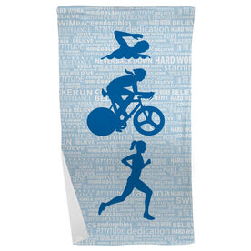 Triathlon Beach Towel Swim Bike Run Inspiration Female