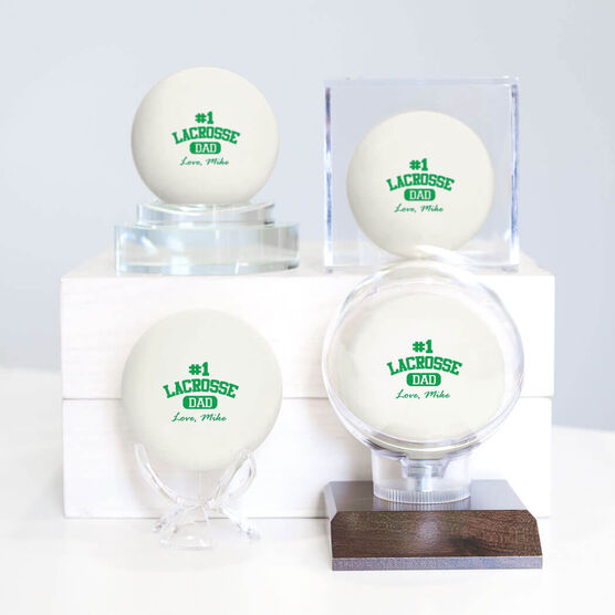 Personalized Lacrosse Dad (Block Logo) LAX Ball (White Ball)