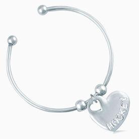Silver Hockey Heart On Silver Plated Cuff Bracelet