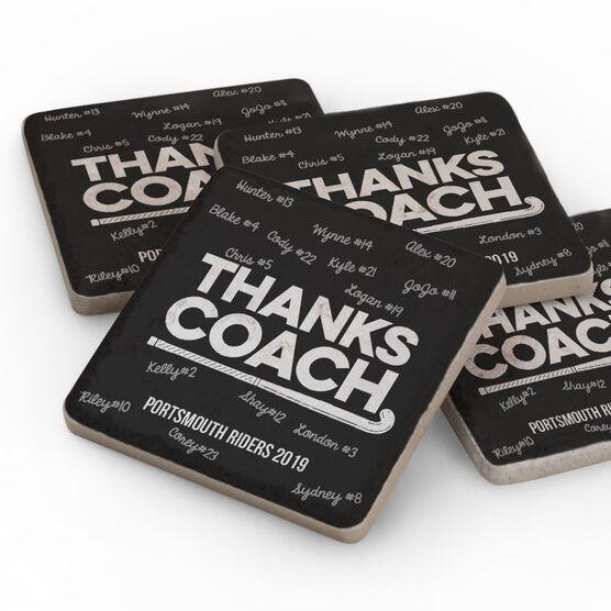 Field Hockey Stone Coasters Set of Four - Coach (Autograph)