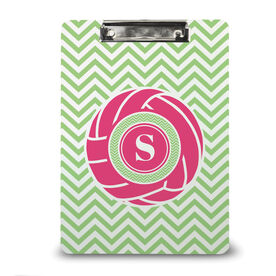 Volleyball Custom Clipboard Single Letter Monogram with Volleyball and Chevron