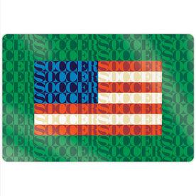 "Soccer 18"" X 12"" Aluminum Room Sign - American Flag Mosaic"