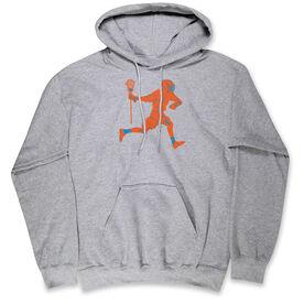 Guys Lacrosse Hooded Sweatshirt - Lacrosse Player Neon Orange