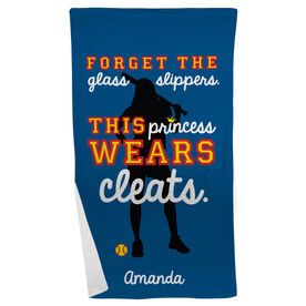Softball Beach Towel Forget The Glass Slippers This Princess Wears Cleats
