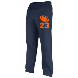 Football Fleece Sweatpants - Football Icon With Number