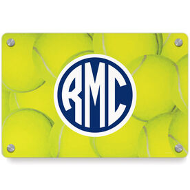 Tennis Metal Wall Art Panel - Monogrammed Ball Background
