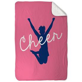 Cheerleading Sherpa Fleece Blanket - Cheer Girl Silhouette