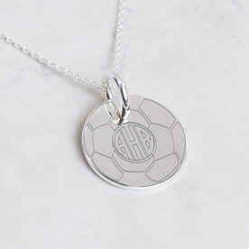 Sterling Silver 20mm Circle Necklace Soccer Monogram