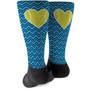 Tennis Printed Mid-Calf Socks - Chevron Tennis Heart