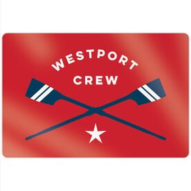 "Crew 18"" X 12"" Aluminum Room Sign - Personalized Crossed Oars"
