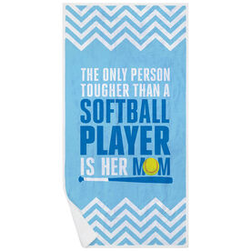 Softball Premium Beach Towel - Tougher Than A Softball Player