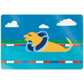 "Swimming 18"" X 12"" Aluminum Room Sign - Finn The Swim Dog"