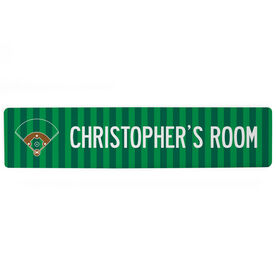 "Baseball Aluminum Room Sign - Personalized Your Field (4""x18"")"