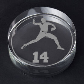 Baseball Personalized Engraved Crystal Gift - Personalized Silhouette (Pitcher)