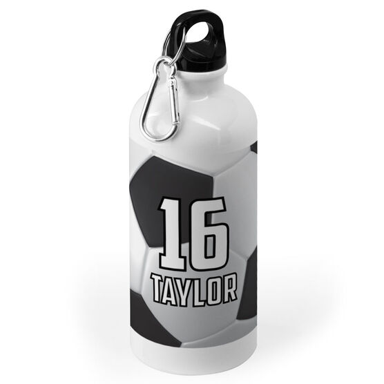 Soccer 20 oz. Stainless Steel Water Bottle - Personalized Big Number with Soccer Ball