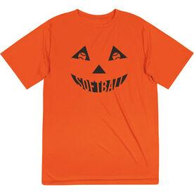 Softball Short Sleeve Performance Tee - Softball Pumpkin Face