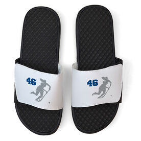 Field Hockey White Slide Sandals - Player Silhouette with Number