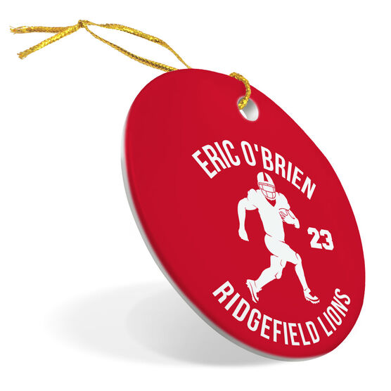 Football Porcelain Ornament Personalized Football Team with Running Back Silhouette
