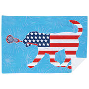 Girls Lacrosse Premium Blanket - Patriotic LuLa the Lax Dog