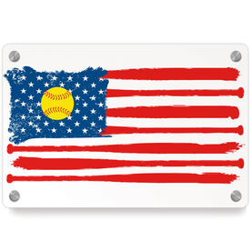 Softball Metal Wall Art Panel - American Flag