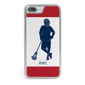 Guys Lacrosse iPhone® Case - Personalized Color Block Silhouette