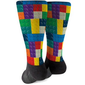 Printed Mid-Calf Socks - Playing With Blocks
