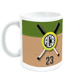 Softball Coffee Mug Monogrammed with Crossed Bats