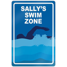 "Swimming 18"" X 12"" Aluminum Room Sign Personalized Swim Zone Girl"