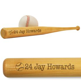 Player Number and Name Mini Engraved Baseball Bat