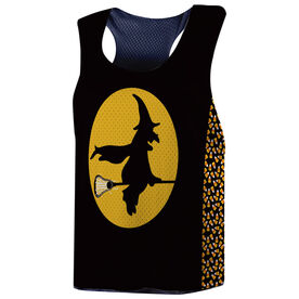 Girls Lacrosse Racerback Pinnie - Witch Riding Lacrosse Stick