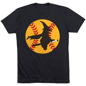 Softball Tshirt Short Sleeve Witch Riding Softball Bat