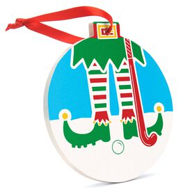 Field Hockey Round Ceramic Ornament - Elf Graphic