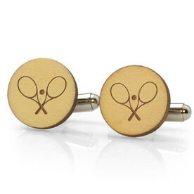 Tennis Engraved Wood Cufflinks Crossed Rackets