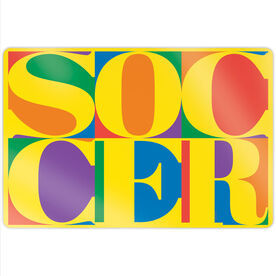 "Soccer 18"" X 12"" Aluminum Room Sign - Soccer Mosaic"