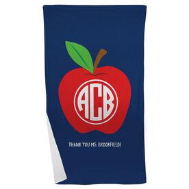 Personalized Teacher Beach Towel - Monogram Apple