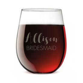 Personalized Stemless Wine Glass - The Stylish Bridesmaid
