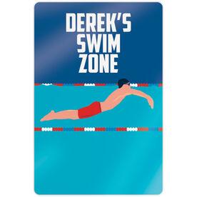 "Swimming 18"" X 12"" Aluminum Room Sign - Personalized Swim Zone Guy"