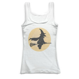 Girls Lacrosse Vintage Fitted Tank Top - Witch Riding Lacrosse Stick