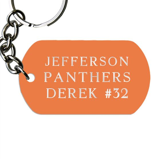 Engraved Personalized Text Dog Tag Keychains - Horizontal