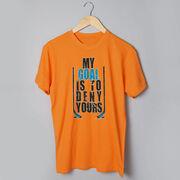 Hockey Tshirt Short Sleeve My Goal Is To Deny Yours Hockey (Blue/Black)