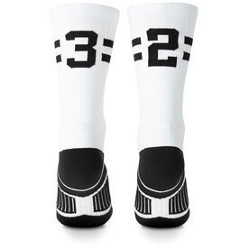 Team Number Woven Mid-Calf Socks - White/Black