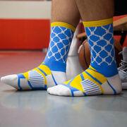 Basketball Woven Mid-Calf Socks - Hoop and Ball (Blue/Yellow)